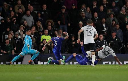 Soccer Football - Championship - Derby County v Cardiff City - Pride Park, Derby, Britain - April 24, 2018 Derby County's Cameron Jerome scores their first goal Action Images/Andrew Boyers