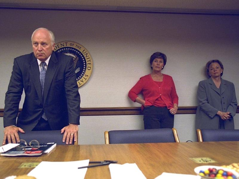 The vice-President, his wife Lynne Cheney and first lady Laura Bush during the emergency briefing (US National Archives)