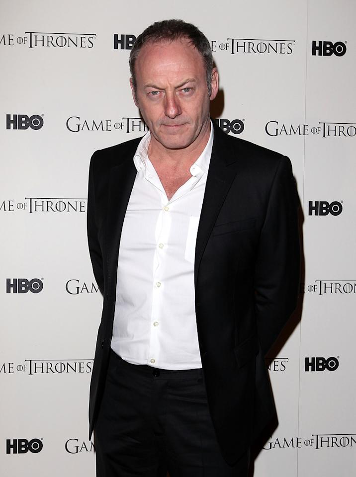 "Liam Cunningham attends the ""<span style=""text-decoration:underline;""></span><a target=""_blank"" href=""http://tv.yahoo.com/game-of-thrones/show/41208"">Game of Thrones</a>"" Season 1 DVD premiere at Old Vic Tunnels on February 29, 2012 in London, England."