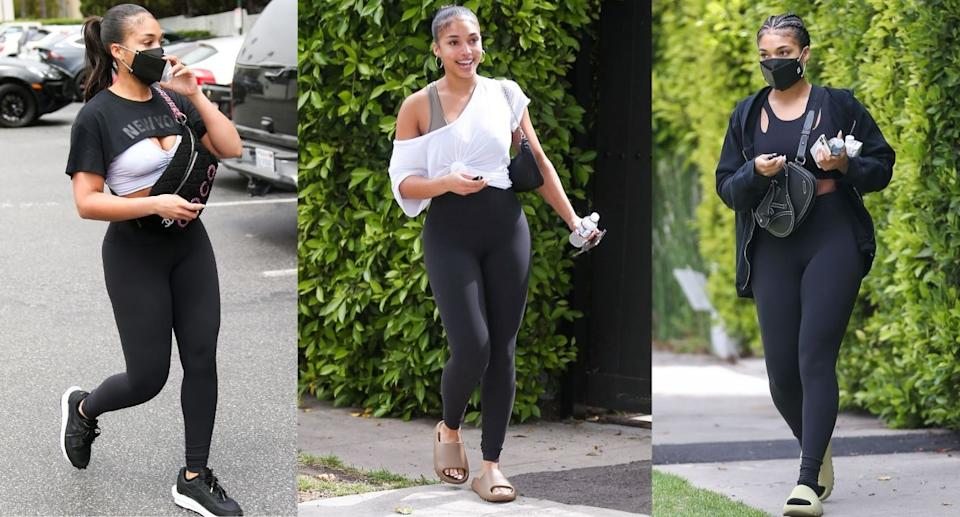 Lori Harvey has been spotted wearing these Lululemon Align High-Rise Leggings (Images via Getty Images)