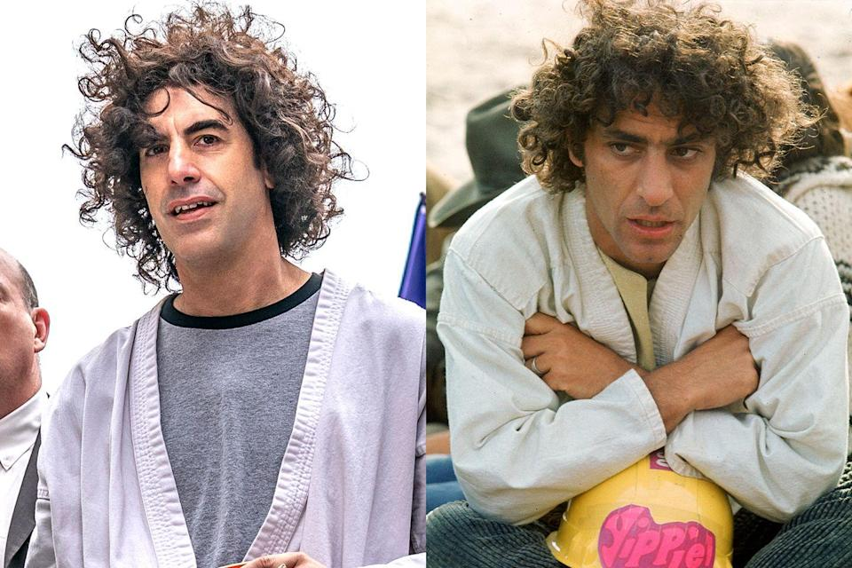 """<p>The highly versatile Sacha Baron Cohen portrays Abbie Hoffman, one of the trial defendants and the cofounder of the Youth International Party (also known as the """"Yippies""""). He was known for staging tongue-in-cheek stunts to make a statement and advance his causes.</p>"""
