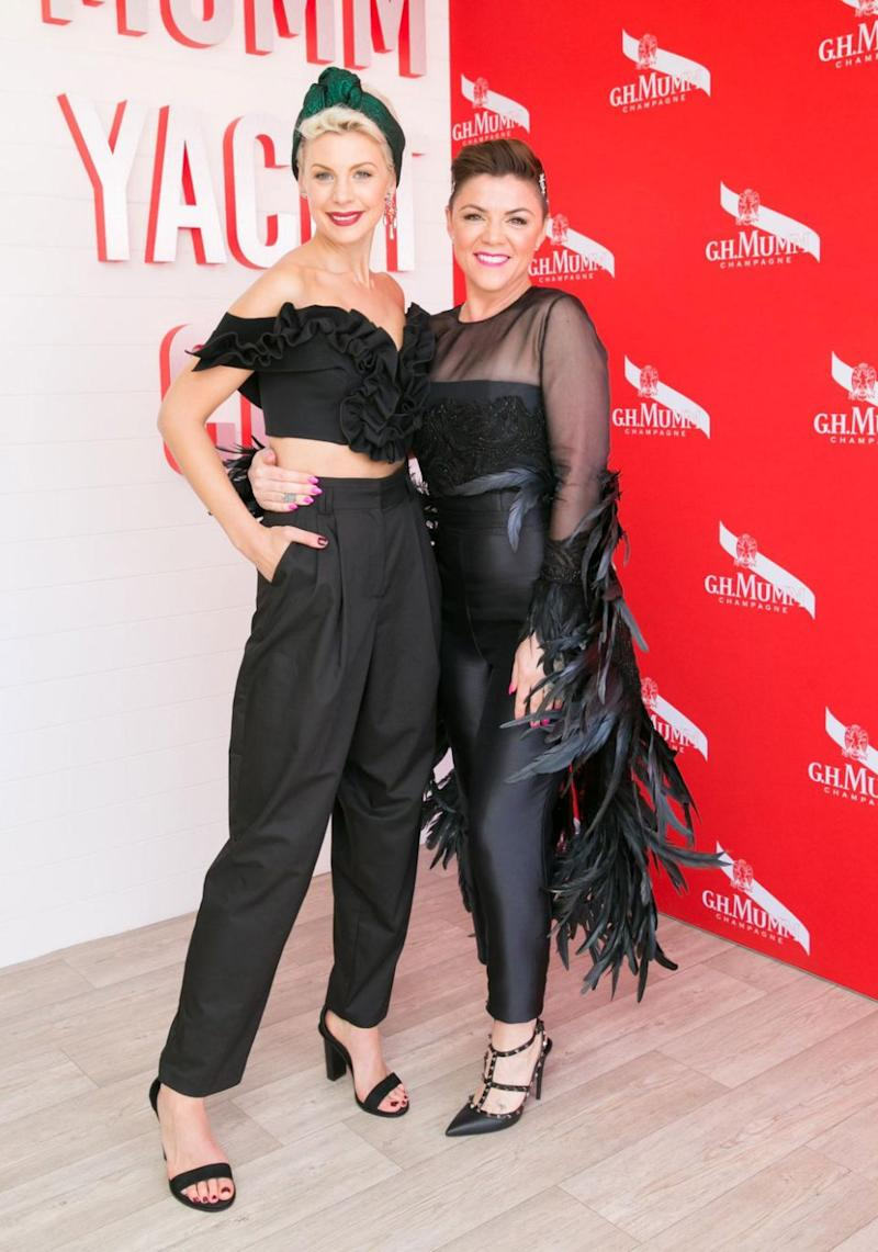 Em in the G.H. Mumm marquee at Derby Day in Melbourne with Kate Peck. Source: SDP Media