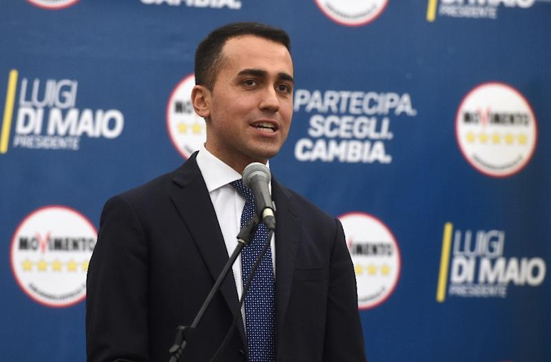 "Anti-establishment Five Star Movement (M5S) leader Luigi Di Maio declared his party ""the winners"" after obtaining nearly 33 percent of the vote (AFP Photo/Filippo MONTEFORTE                  )"