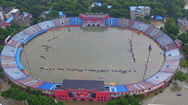 A flooded sports stadium in Wuhan.