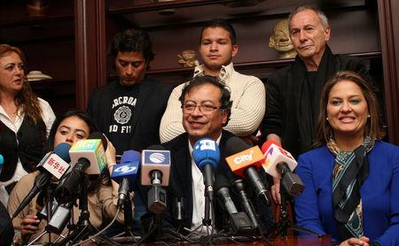 Gustavo Petro, presidential candidate, speaks during a press conference after knowing the results of the legislative elections in Bogota, Colombia March 11, 2018. REUTERS/Felipe Caicedo