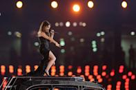 LONDON, ENGLAND - AUGUST 12: Victoria Beckham of the Spice Girls performs during the Closing Ceremony on Day 16 of the London 2012 Olympic Games at Olympic Stadium on August 12, 2012 in London, England. (Photo by Hannah Johnston/Getty Images)