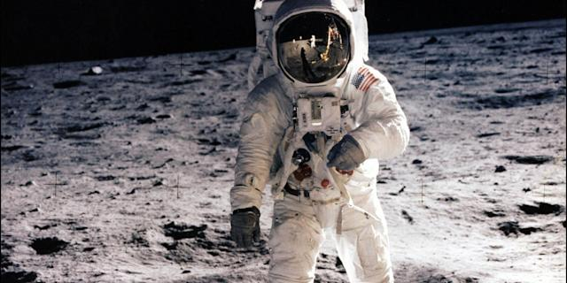 This picture taken on July 21,1969 of astronaut Edwin E. Aldrin Jr. walking on the surface of the moon near the leg of the Lunar Module 'Eagle' and astronaut Neil Armstrong, during the Apollo 11 extravehicular activity (EVA). Photo: NASA/AFP via Getty Images