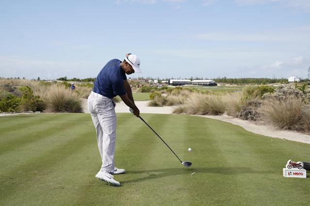 "<h1 class=""title""><a class=""link rapid-noclick-resp"" href=""/pga/players/147/"" data-ylk=""slk:Tiger Woods"">Tiger Woods</a></h1> <div class=""caption""> Hero World Challenge at Albany Club in Nassau, Bahamas on Saturday December 01, 2018. </div> <cite class=""credit"">J.D. Cuban</cite>"