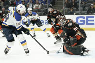 Anaheim Ducks goaltender Anthony Stolarz blocks a shot by St. Louis Blues center Robert Thomas during the first period of an NHL hockey game in Anaheim, Calif., Wednesday, March 11, 2020. (AP Photo/Chris Carlson)