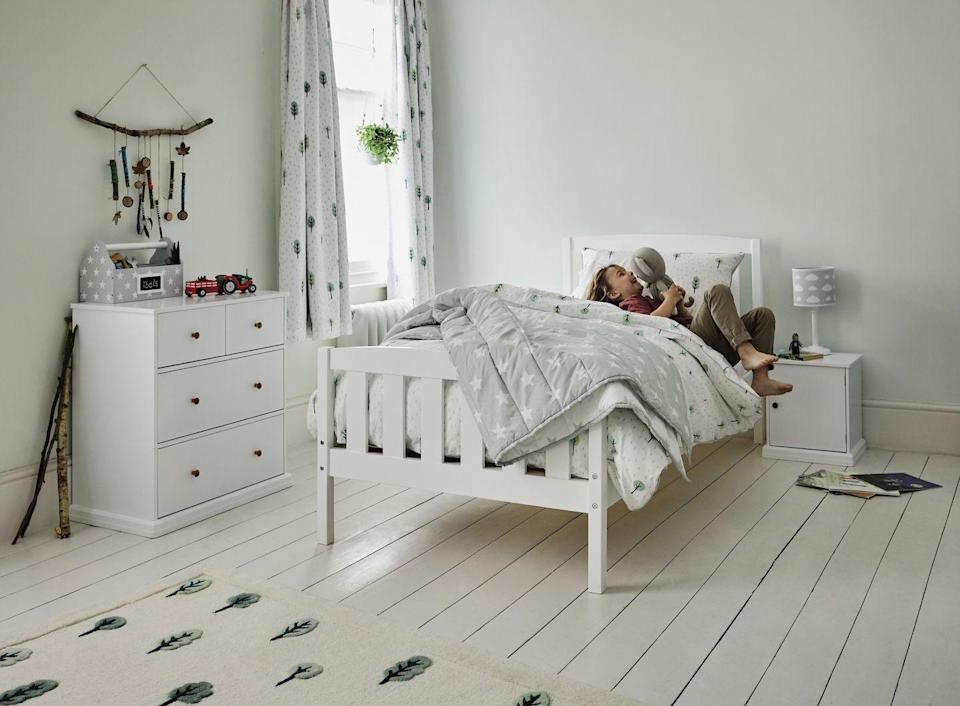 """<p>Pale green is a fabulous option if you want to introduce an alternative colour in a girls' bedroom. It's easy on the eye, fresh and relaxing, and works really well with pale <a href=""""https://www.housebeautiful.com/uk/decorate/looks/tips/g249/grey-colour-schemes-stylist-tips/"""" rel=""""nofollow noopener"""" target=""""_blank"""" data-ylk=""""slk:grey"""" class=""""link rapid-noclick-resp"""">grey</a> and white. You can add prints to the mix that feature leaves, trees and flowers to really bring the outside in. Green is also known for its calming properties.</p><p>Pictured: Woodland collection, <a href=""""https://go.redirectingat.com?id=127X1599956&url=https%3A%2F%2Fwww.gltc.co.uk%2Fcollections%2Fwoodland-collection&sref=https%3A%2F%2Fwww.housebeautiful.com%2Fuk%2Fdecorate%2Fbedroom%2Fg35589644%2Fgirls-bedroom-ideas%2F"""" rel=""""nofollow noopener"""" target=""""_blank"""" data-ylk=""""slk:Great Little Trading Company"""" class=""""link rapid-noclick-resp"""">Great Little Trading Company</a></p>"""