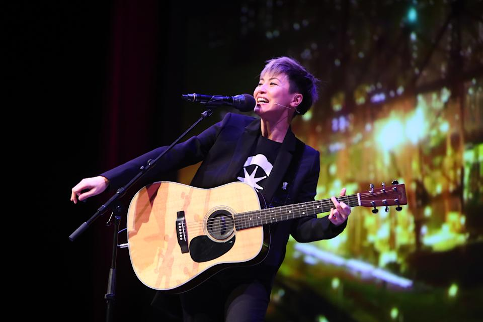 Hong Kong-based artist and LGBTQ rights advocate Denise Ho performs on stage during the Oslo Freedom Forum in Oslo on May 27, 2019. (Photo by Ryan Kelly / NTB scanpix / AFP) / Norway OUT        (Photo credit should read RYAN KELLY/AFP/Getty Images)