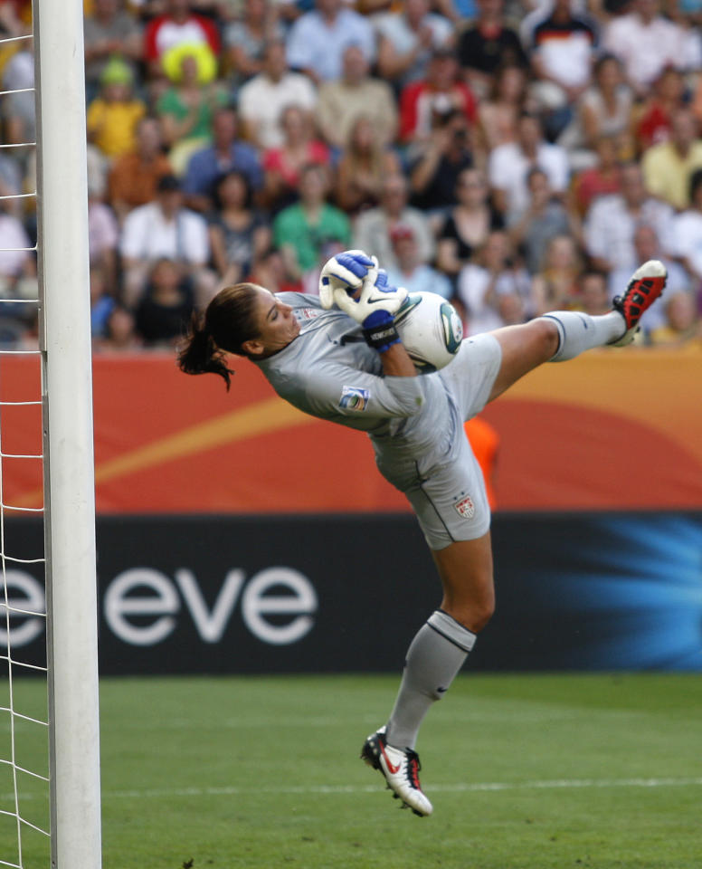 United States goalkeeper Hope Solo catches a ball during the quarterfinal match between Brazil and the United States at the Women's Soccer World Cup in Dresden, Germany, Sunday, July 10, 2011. (AP Photo/Petr David Josek)