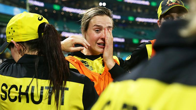 Ellyse Perry, pictured here in tears after Australia's victory over South Africa.