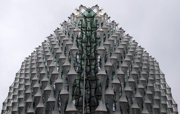 Detail of the facade on the new embassy, which is due to open this month. (Photo: Dominic Lipinski - PA Images via Getty Images)