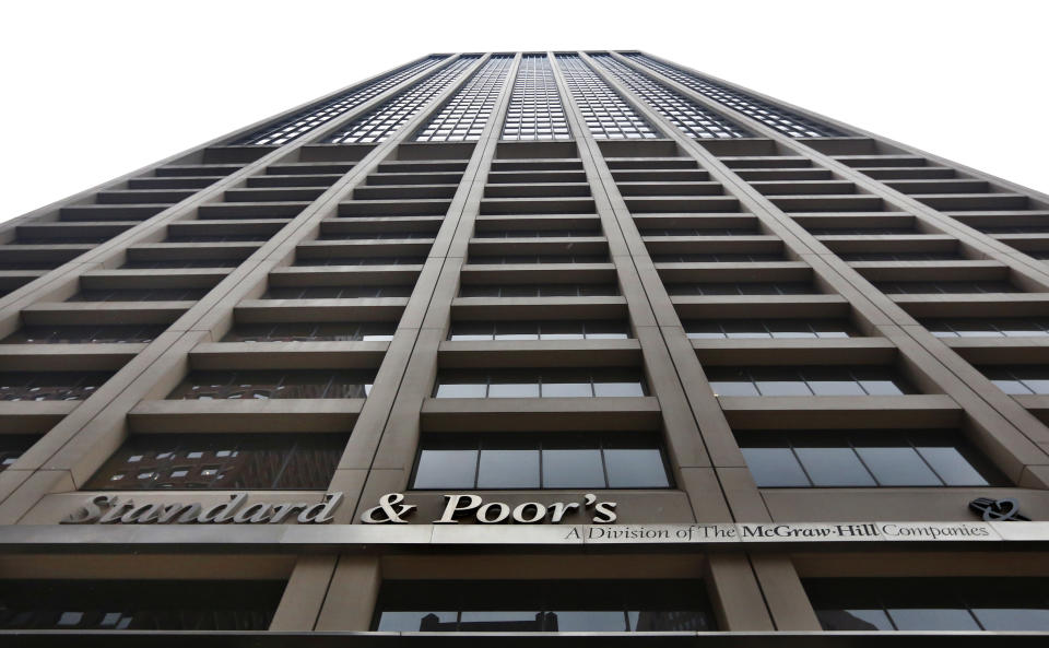 A view shows the Standard & Poor's building in New York's financial district February 5, 2013. The U.S. government is seeking more than $5 billion in a lawsuit against rating agency Standard & Poor's over mortgage bond ratings, U.S. Attorney General Eric Holder said on Tuesday. The civil suit against S&P and its parent McGraw-Hill Cos Inc is the first federal enforcement action against a credit rating agency over alleged illegal behavior related to the 2007-2009 U.S. financial crisis. REUTERS/Brendan McDermid  (UNITED STATES - Tags: BUSINESS CRIME LAW POLITICS LOGO)