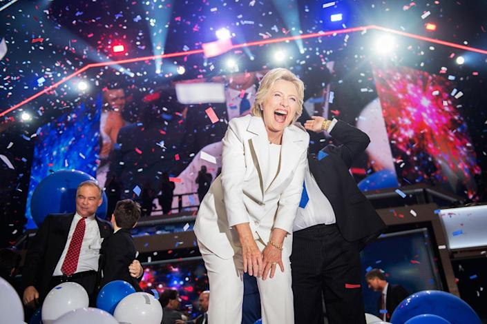 <p>Hillary Clinton and her running mate Tim Kaine, left, celebrate at the Wells Fargo Center in Philadelphia, Pa., on the final night of the Democratic National Convention, July 28, 2016. (Tom Williams/CQ Roll Call) </p>