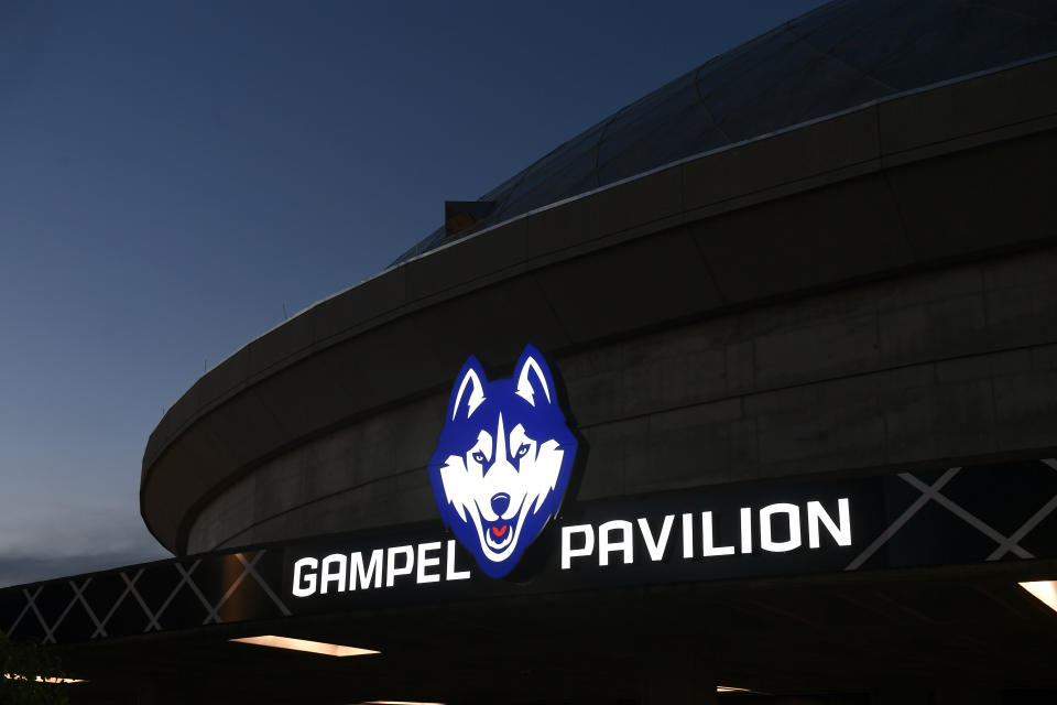 Harry A. Gampel Pavilion arena for the UConn Huskies basketball program in Storrs, Conn., Friday, Oct. 12, 2018. (AP Photo/Jessica Hill)