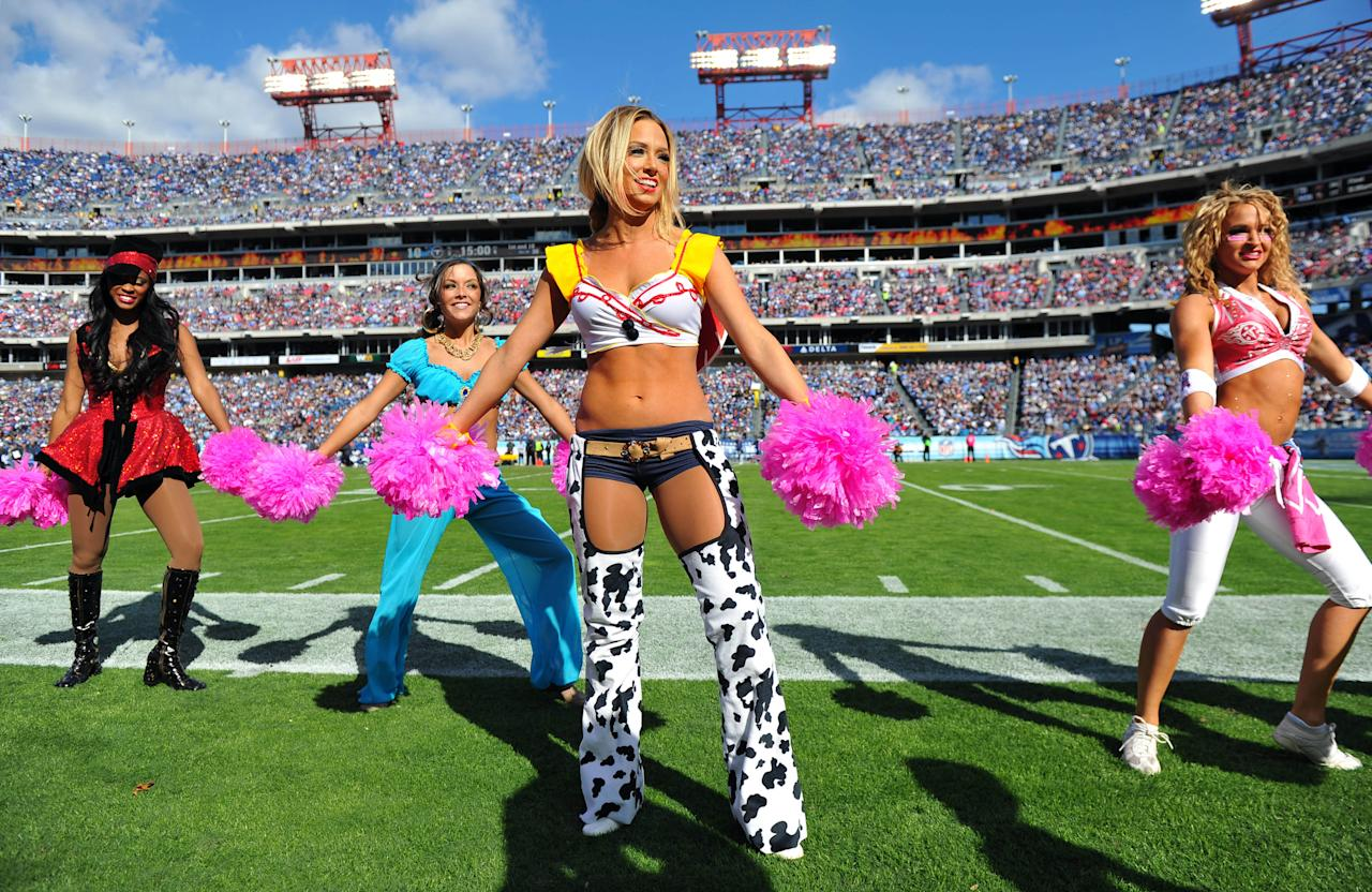 Oct 28, 2012; Nashville, TN, USA; Tennessee Titans cheerleaders perform in a game against the Indianapolis Colts during the second half at LP Field. The Colts beat the Titans 19-13 in overtime. Mandatory credit: Don McPeak-US PRESSWIRE