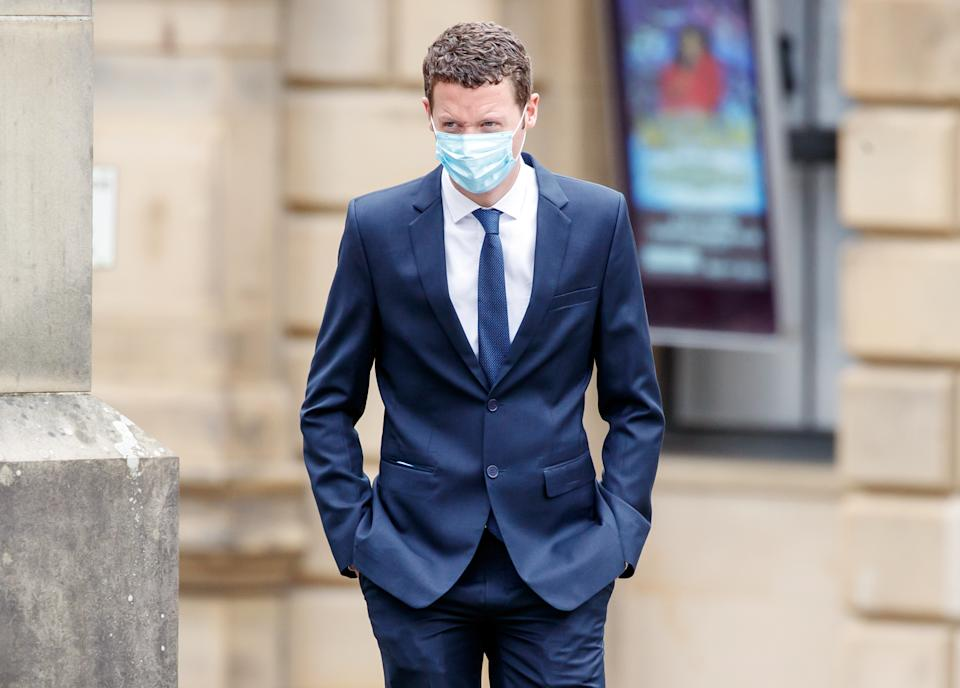 Sergeant Ben Lister arrives at Bradford Crown Court accused of raping and sexually assaulting a woman in Bradford on August 29 2016. Picture date: Wednesday April 21, 2021.