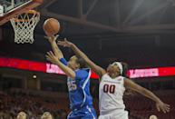 Kentucky guard Makayla Epps, left, drives past Arkansas guard Jessica Jackson, right, during the first half of an NCAA college basketball game Thursday, Feb. 26, 2015, in Fayetteville, Ark. (AP Photo/Gareth Patterson)