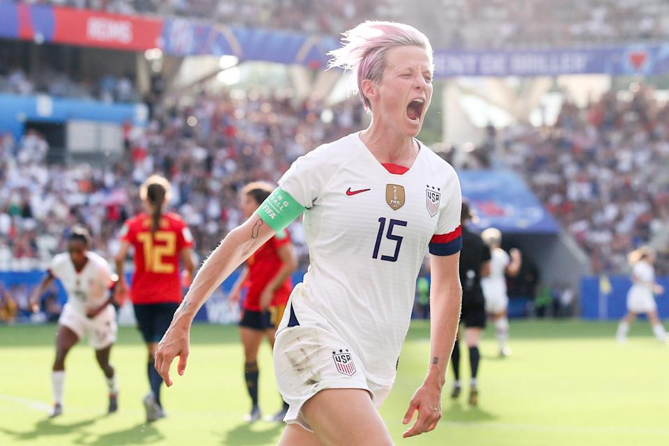 Megan Rapinoe #15 of USA celebrates her the second goal by penalty during the 2019 FIFA Women's World Cup France Round Of 16 match between Spain and USA at Stade Auguste Delaune on June 24, 2019 in Reims, France. (Photo by Zhizhao Wu/Getty Images)