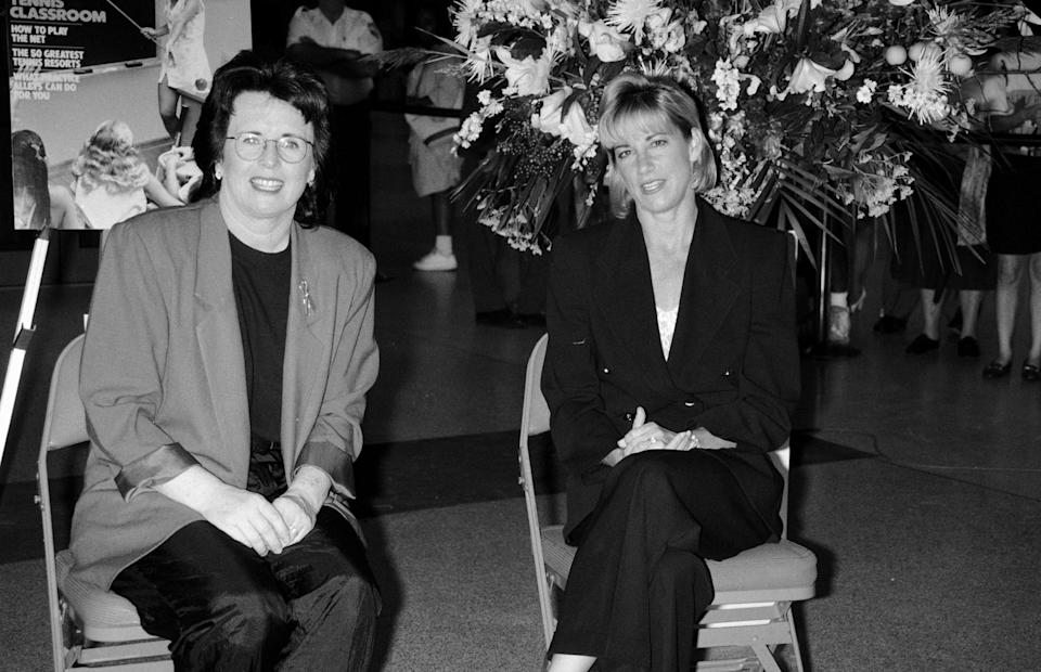 UNITED STATES - JANUARY 01:  Professional tennis players Billie Jean King and Chris Evert  (Photo by The LIFE Picture Collection/Getty Images)