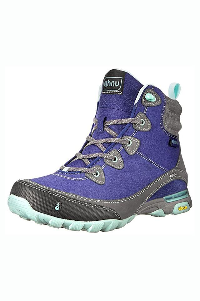 """<p>Starting at $78</p><p><a rel=""""nofollow"""" href=""""https://www.amazon.com/Ahnu-Womens-Sugarpine-Hiking-Black/dp/B00BBLXSD8/"""">SHOP NOW</a><br></p><p>These colorful boots definitely stand out from the crowd. Plus, they're comfortable <em>and </em>waterproof, making them an ideal choice if you're going to be trekking through streams, walking on soggy terrain, or hiking in the rain.</p>"""