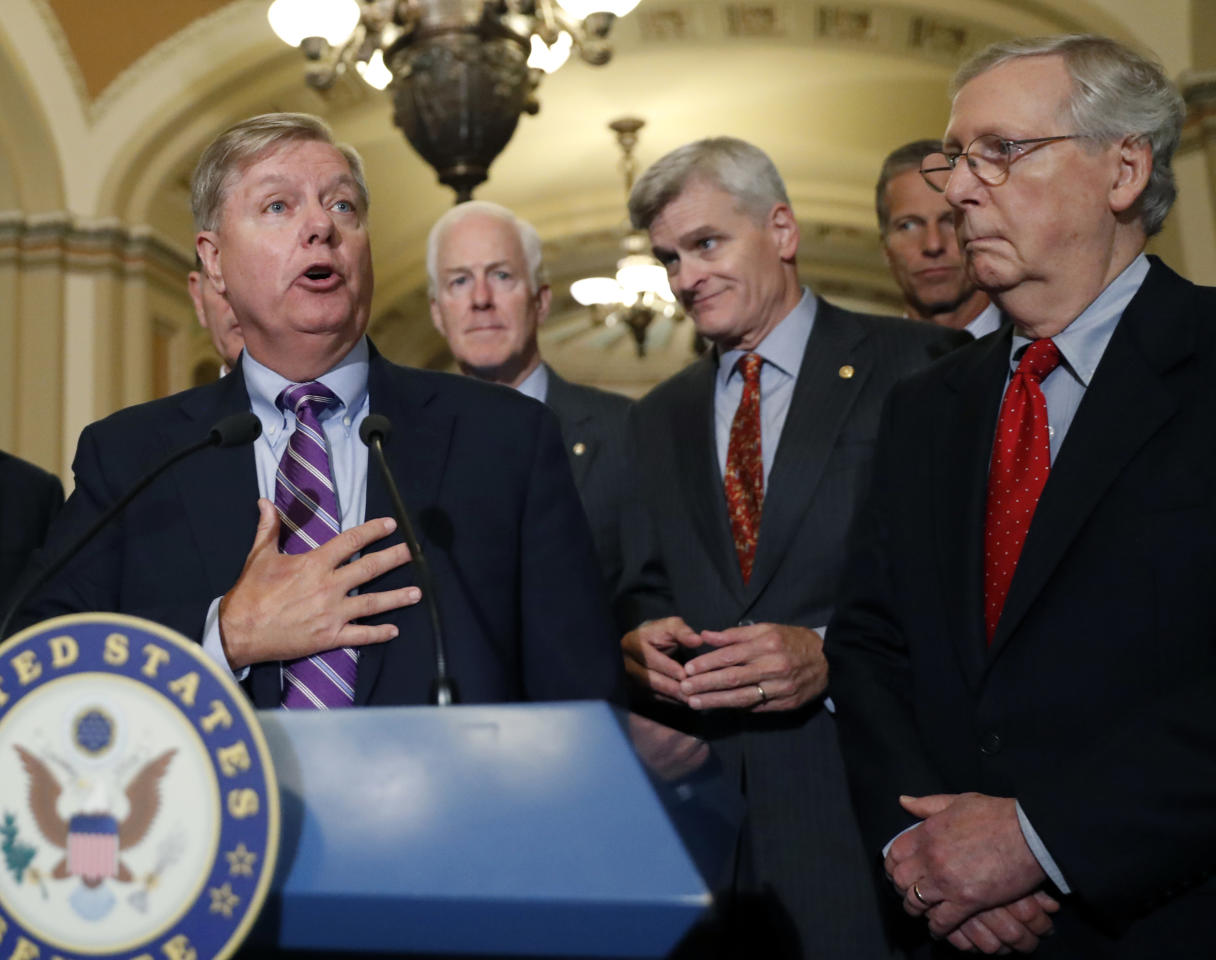 <p> Sen. Lindsey Graham, R-S.C., speaks to the media, accompanied by Senate Majority Whip Sen. John Cornyn, R-Texas, Sen. Bill Cassidy, R-La., Sen. John Thune, R-S.D., and Senate Majority Leader Mitch McConnell of Ky., on Capitol Hill, Tuesday, Sept. 19, 2017, in Washington. (AP Photo/Alex Brandon) </p>