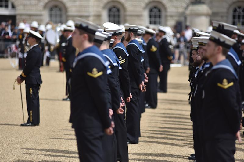 "LONDON, ENGLAND - AUGUST 07: Crew members from HMS Westminster stand on parade at Horse Guards Parade as they exercise their ""Freedom of the City"" on August 07, 2019 in London, England. The historic privilege allows certain military units to parade through London, led by a band, with bayonets fixed to their rifles. This showed a high degree of trust at the time and is the highest honour a city can bestow upon a unit. Royal Navy frigate HMS Westminster is visiting the city before returning to Portsmouth after taking part in the NATO training exercise, ""Exercise Baltic Protector"". (Photo by John Keeble/Getty Images)"