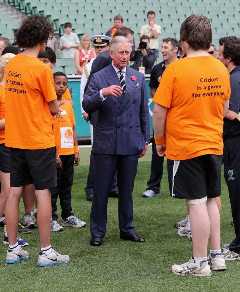 MELBOURNE, AUSTRALIA - NOVEMBER 06:  Prince Charles, Prince of Wales visits Cricket Victoria's Harmony Programme at the Melbourne Cricket Ground on November 6, 2012 in Melbourne, Australia. The Royal couple are in Australia on the second leg of a Diamond Jubilee Tour taking in Papua New Guinea, Australia and New Zealand.  (Photo by Chris Jackson/Getty Images)