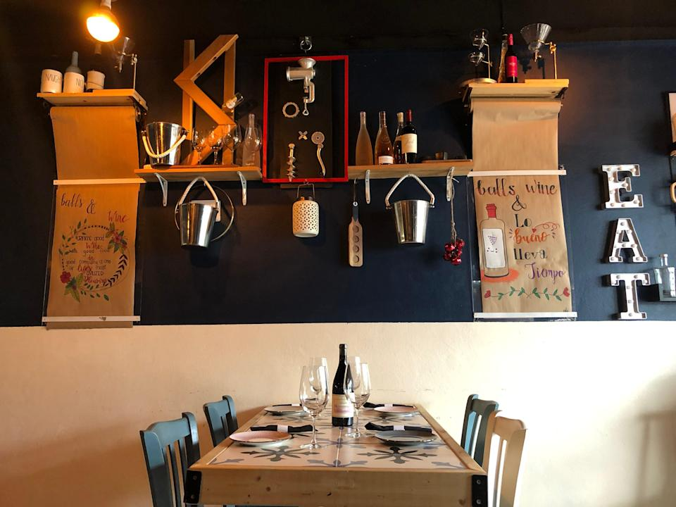 Interior of table at Balls and Wine restaurant St. Martin.