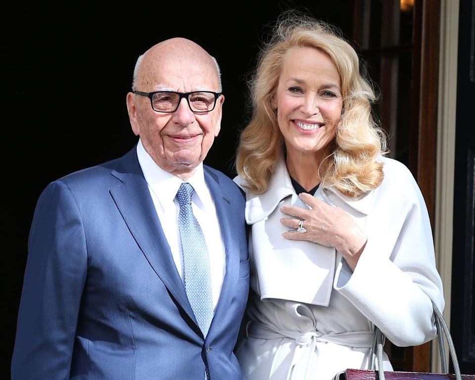 """<p><strong>Age gap: </strong>25 years</p><p>Rupert Murdoch, 88, and Jerry Hall, 63, caused a stir when they announced their engagement in 2016. The model and the media mogul married in London later that year, prompting Murdoch <a href=""""https://twitter.com/rupertmurdoch"""" rel=""""nofollow noopener"""" target=""""_blank"""" data-ylk=""""slk:to tweet"""" class=""""link rapid-noclick-resp"""">to tweet</a> that he was """"the luckiest AND happiest man in the world.""""</p>"""