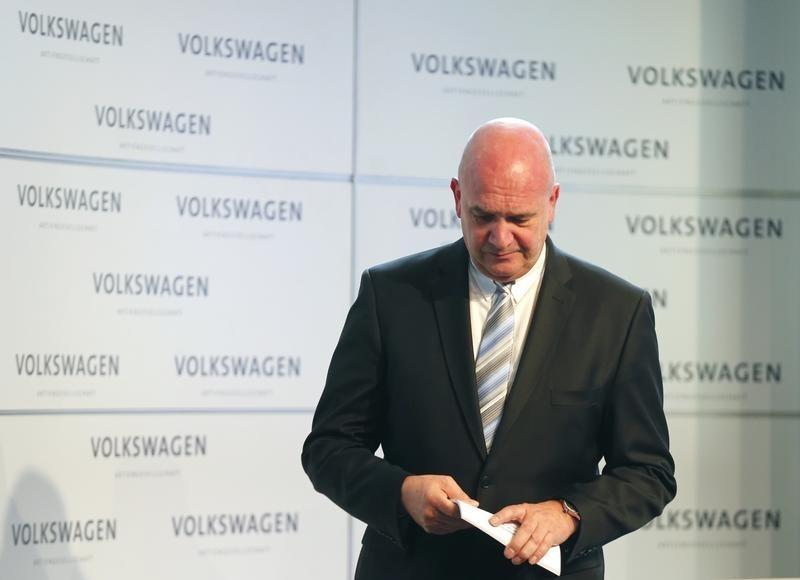 Osterloh head of Volkwagen's works council leaves after addressing news conference at company's headquarters in Wolfburg