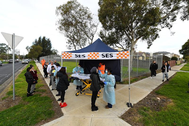 Pictured is an SES tent erected on a residential street where people are being tested for the coronavirus.