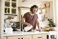 "<p>A simple bowl of cereal with milk works wonders at replacing critical stores of vitamins B and D. ""Cereal is usually fortified with B vitamins, and milk or one of its substitutes with vitamin D. This is a complete meal, and it shouldn't make you super nauseous,"" says Dorfman.</p>"