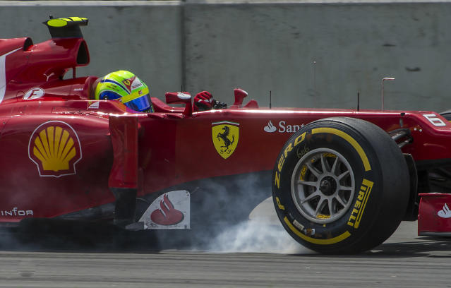 Ferrari driver Felipe Massa of Brazil steers his car in the hairpin curve at the Canadian Formula One Grand Prix on June 10, 2012 at the Circuit Gilles Villeneuve in Montreal. AFP PHOTO/ROGERIO BARBOSAROGERIO BARBOSA/AFP/GettyImages