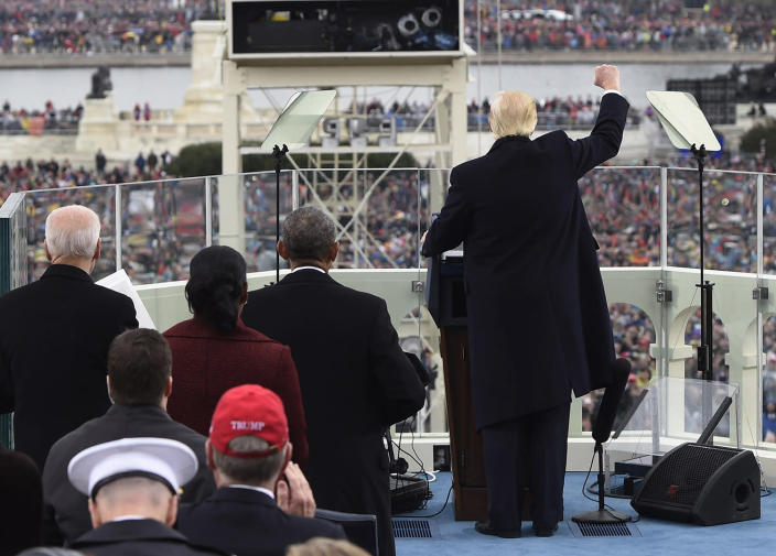 <p>President Donald Trump gestures after his speech, on Capitol Hill in Washington, Friday, Jan. 20, 2017, during the presidential inauguration. (Photo: Paul Loeb/Pool Photo via AP) </p>