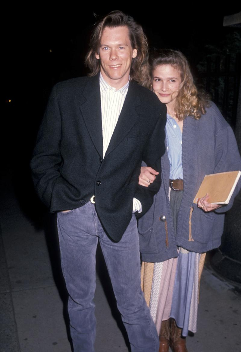 Kevin Bacon and Kyra Sedgwick at a benefit in New York in 1990