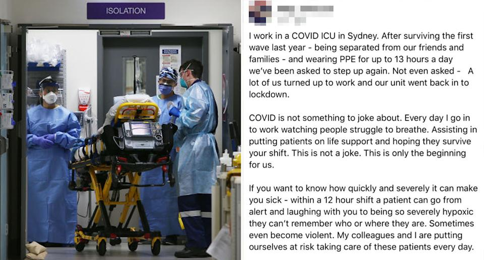 Frontline workers are facing another Covid surge with vaccine supply for under 40s still months away. Source: Getty/Facebook
