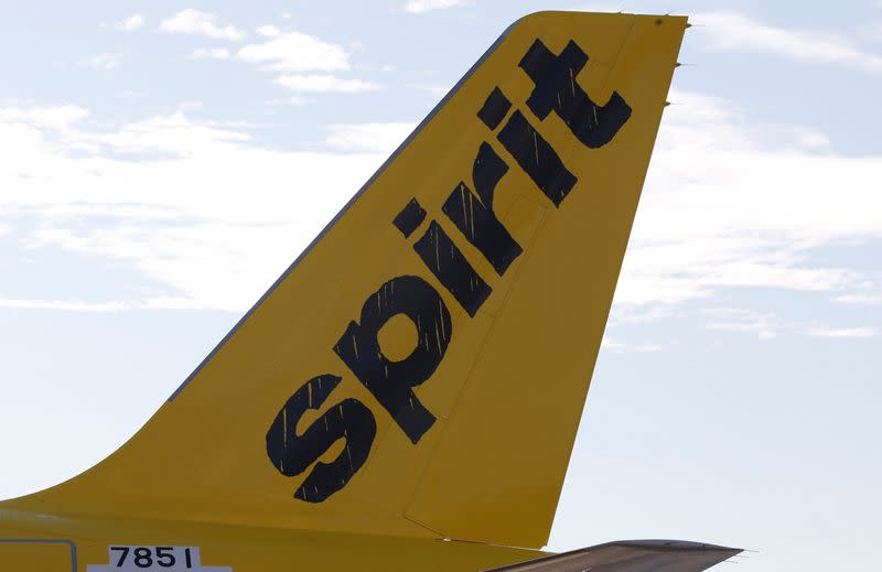 A logo of low cost carrier Spirit Airlines is pictured on an Airbus plane in Colomiers near Toulouse