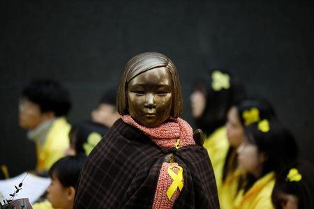 A statue symbolising former South Korean 'comfort women' is seen in Seoul