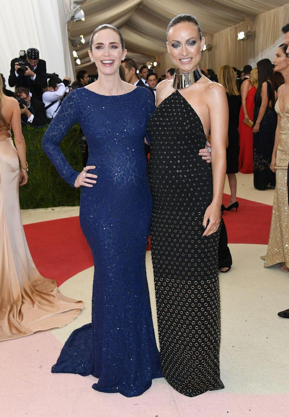 <p>For the 'Manus x Machina: Fashion In An Age Of Technology'-themed gala, the pregnant actresses wore coordinating Michael Kors Collection dresses and we give them top marks for Wilde's metallic choker neckline, Jennifer Fisher earrings and gunmetal clutch. </p>