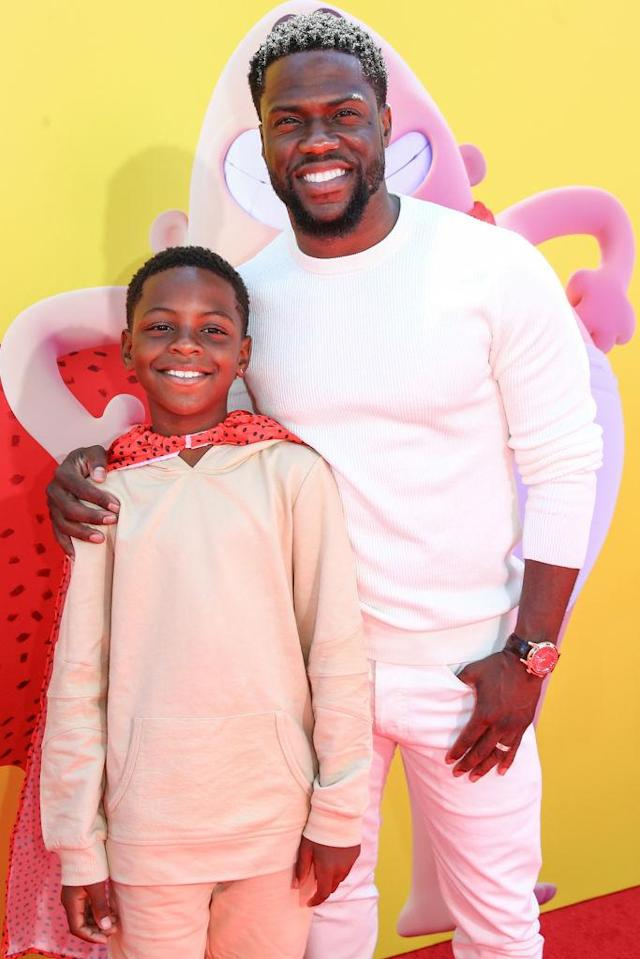 "Kevin Hart with his cape-wearing son, Hendrix Hart, at the premiere of ""Captain Underpants: The First Epic Movie"" on May 21. (Photo: Rich Fury/Getty Images)"
