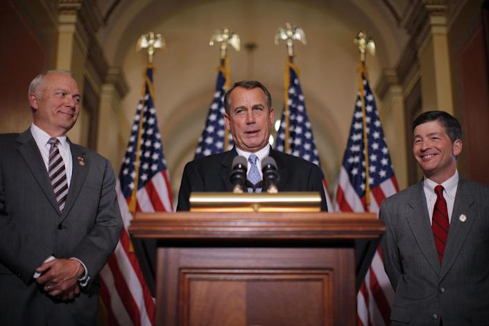 House Speaker John Boehner of Ohio, accompanied by House Education and the Workforce Committee Chairman Rep. John Kline, R-Minn., left, and Rep. Jeb Hensarling, R-Texas, speak about a student loans bill, Wednesday, April 25, 2012, on Capitol Hill in Washington. (AP Photo/Charles Dharapak)