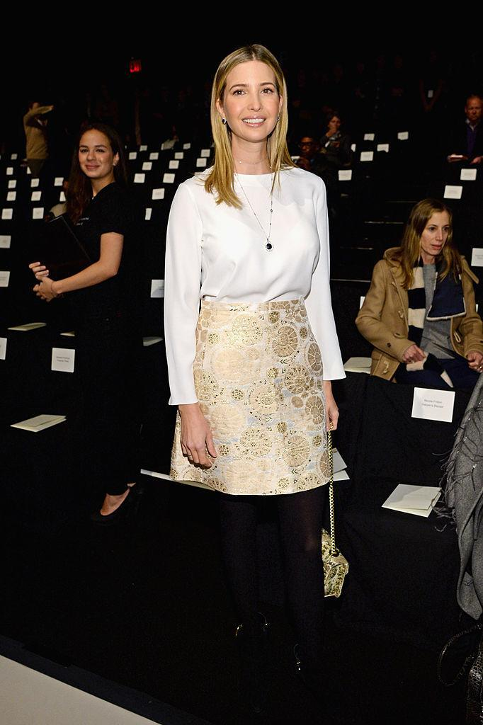 Ivanka Trump wearing a gold patterned dress in February 10, 2014. (Photo: Getty Images)