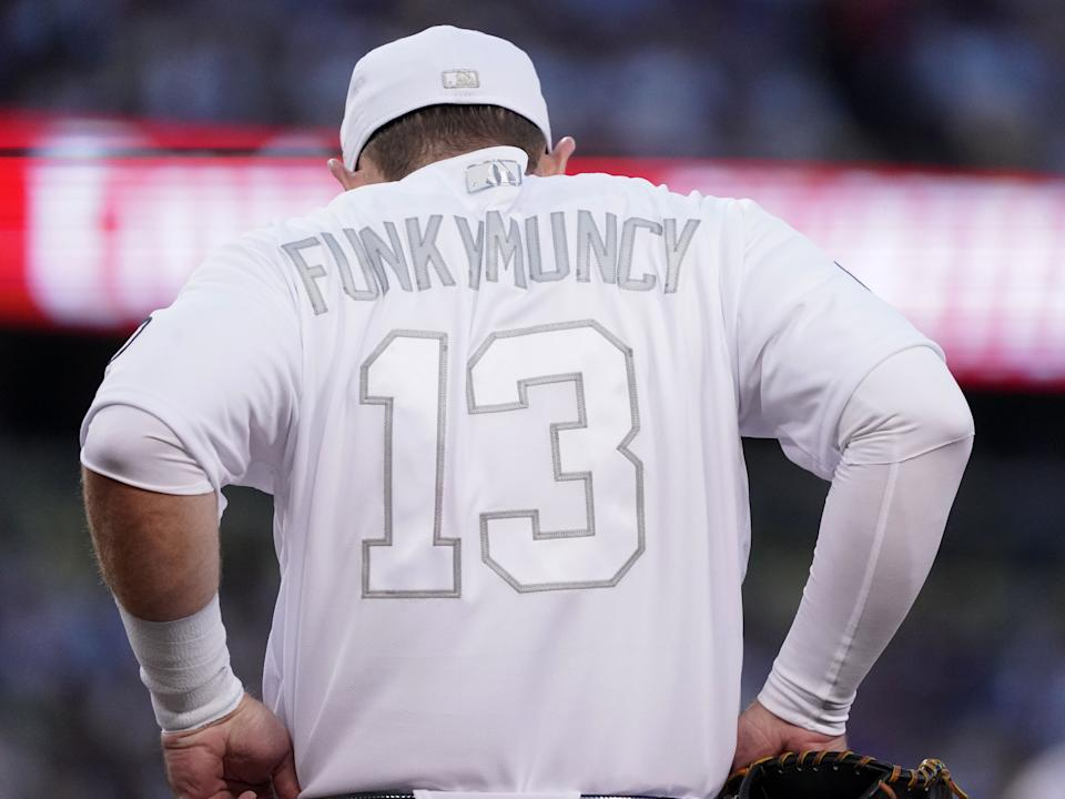 LOS ANGELES, CA - AUGUST 23: Los Angeles Dodgers first baseman Max Muncy (13) wears his nickname on the back of his all white uniform at Dodger Stadium in Los Angeles on Friday, Aug. 23, 2019. (Photo by Scott Varley/MediaNews Group/Torrance Daily Breeze via Getty Images)