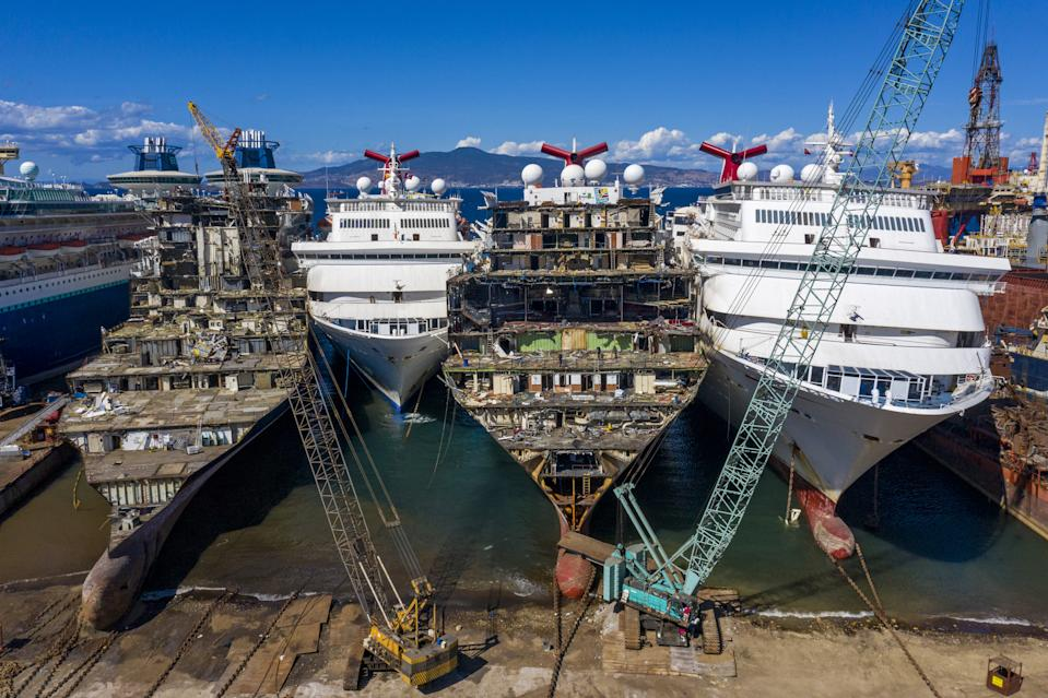 A drone photo shows beached ships at a breaking yard.