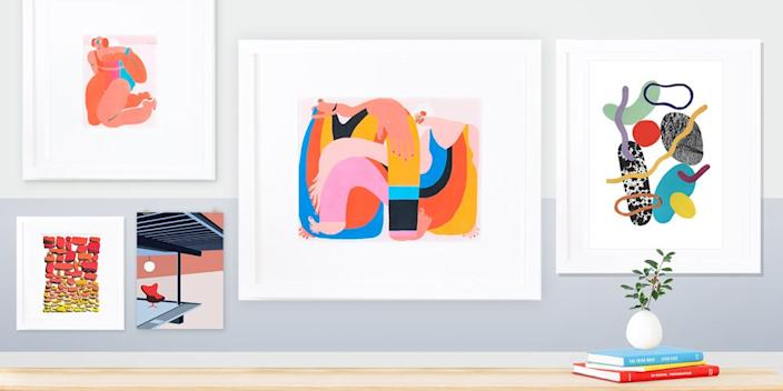 """<div class=""""caption""""> Every gallery wall should have an abstract artwork, and you can't go wrong with any (or all) of these. <br> Clockwise from left:<br> <a href=""""https://www.framebridge.com/lp/gifts-under-100"""" rel=""""nofollow noopener"""" target=""""_blank"""" data-ylk=""""slk:SHOP NOW"""" class=""""link rapid-noclick-resp"""">SHOP NOW</a>: Framed Prints by Amber Vittoria for Framebridge (available in December), framebridge.com<br> <a href=""""http://saskiapomeroy.tictail.com/products/print"""" rel=""""nofollow noopener"""" target=""""_blank"""" data-ylk=""""slk:SHOP NOW"""" class=""""link rapid-noclick-resp"""">SHOP NOW</a>: Collage Print 1 by Saskia Pomeroy, $45, tictail.com<br> <a href=""""https://www.poketo.com/collections/living/products/stahl-house-print-1"""" rel=""""nofollow noopener"""" target=""""_blank"""" data-ylk=""""slk:SHOP NOW"""" class=""""link rapid-noclick-resp"""">SHOP NOW</a>: Stahl House Print by Poketo, $28, poketo.com<br> <a href=""""https://shop.kayrock.org/collections/fresh-prints/products/tim-lahan-rise-set"""" rel=""""nofollow noopener"""" target=""""_blank"""" data-ylk=""""slk:SHOP NOW"""" class=""""link rapid-noclick-resp"""">SHOP NOW</a>: <em>Rise/Set</em> by Tim Lahan, $60, shop.kayrock.org<br><br><br><br><br> </div> <cite class=""""credit"""">Photo courtesy of Framebridge, Tictail, Poketo and Kayrock</cite>"""