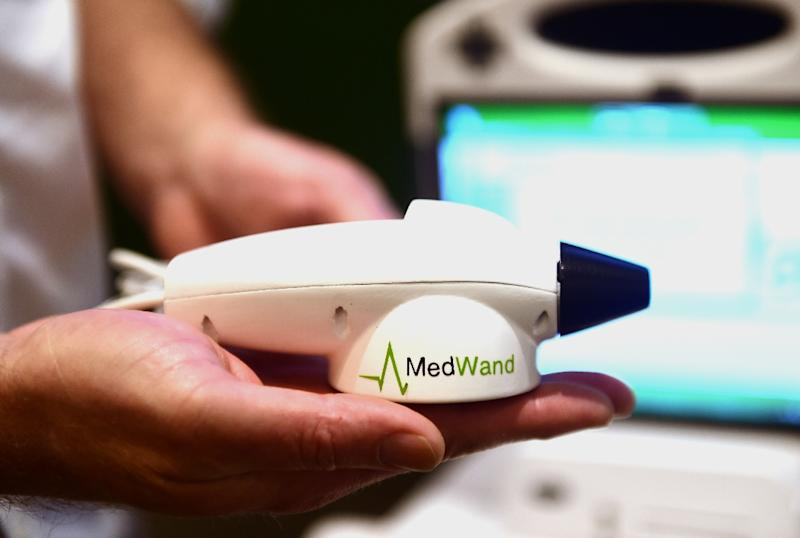 The MedWand medical measurement multi-tool is displayed at CES 2016 in Las Vegas, Nevada on January 7, 2016 (AFP Photo/Robyn Beck)