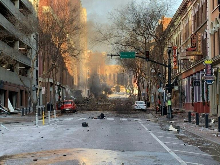 A Christmas Day explosion caused massive damage on a street in downtown Nashville